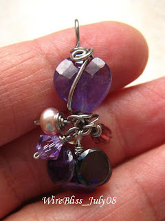 Wire wrapped Purple Crystal Pendant