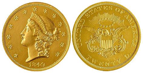 Αποτέλεσμα εικόνας για 1849 Double Eagle
