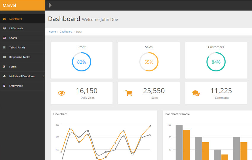 Marvel Bootstrap HTML Admin Template