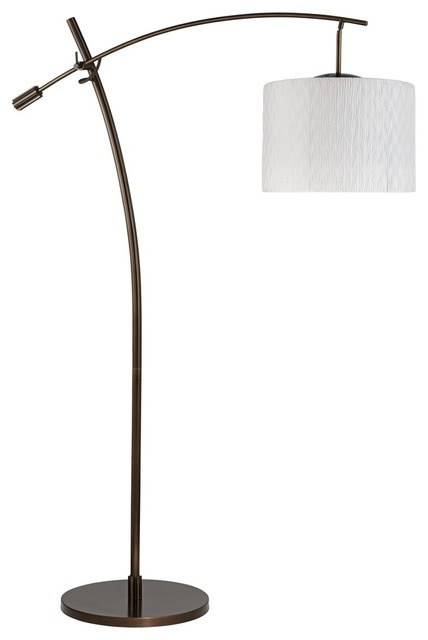 Contemporary Tara White Pleat Drum Shade Balance Arm Arc Floor ...