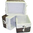 America Basket 3 PC Rectangular Storage Baskets W Cream Colored Liner