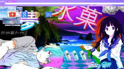 vaporwave anime aesthetic chrome themes themebeta