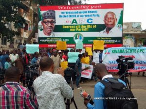 Protesters Storm APC Headquarters, Want Saraki Expelled From Party (Photos)