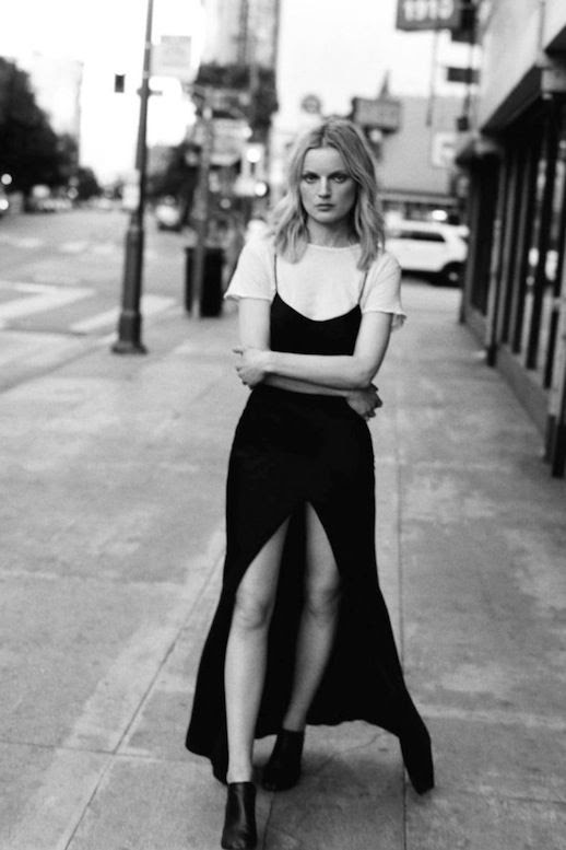 Le Fashion Blog Guinevere Van Seenus Black Cami Slip Dress White Tee Via Self Service Magazine