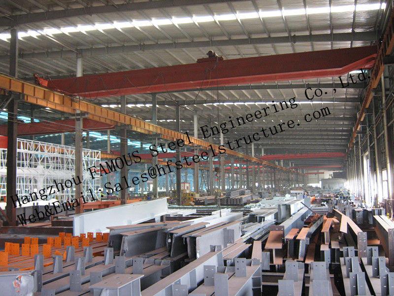 Bangunan Baja Industri Prefabrikasi Struktur Bangunan Span Baja Tunggal Untuk Gudang