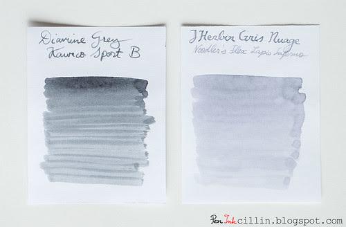 Diamine Grey vs J Herbin Gris Nuage