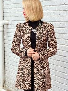Yellow Long Sleeve Leopard Print Coat