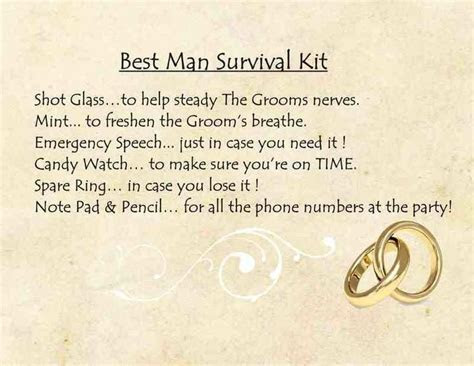Funny best man survival kit poem   Backyard wedding in