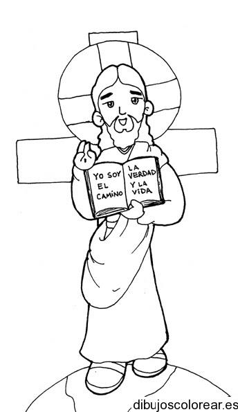Dibujo De Jesús Y La Biblia