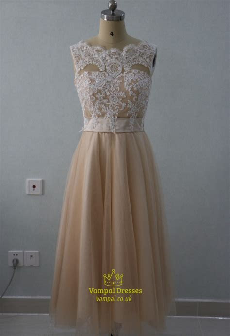 A Line Tea Length Sleeveless Lace Bodice Empire Waist