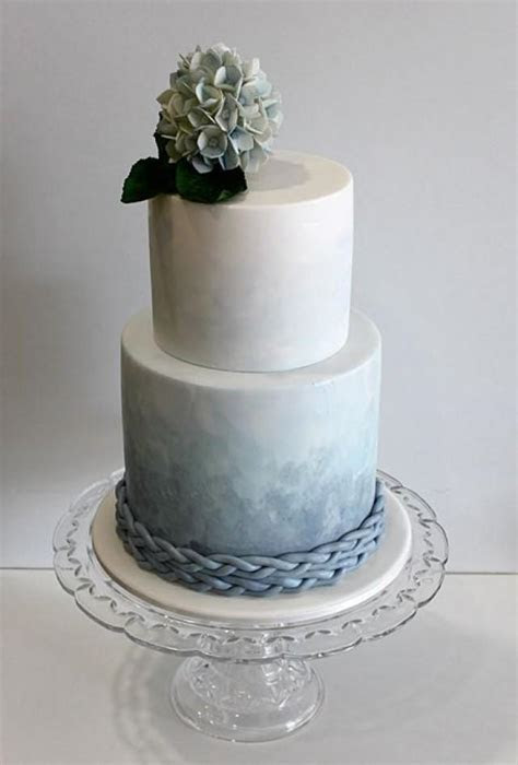 Two Tier Blue Ombre Wedding Cake   A Watercolor Wedding