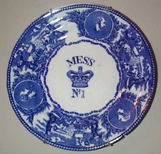 Authentic Victorian Royal Navy Mess Plates Mess Bowls, Rum Cups and Rum Casks, Mess Bowls, Antique Naval Dinnerware by Bovey Tracey and WT Copeland Pottery Company used by British Officers and Enlisted Mess Sailors from 1850-1970