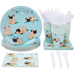 Serves 24 Pugs Design Party Supplies, 144PCS Plates Napkins Cups Knives Spoons Forks, Dog Favors Decorations Disposable Paper Tableware Dinnerware Kit