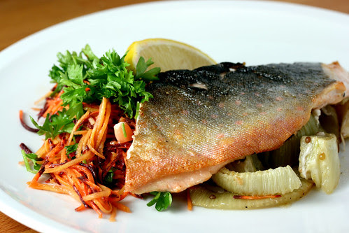 Artic char with grated carrots