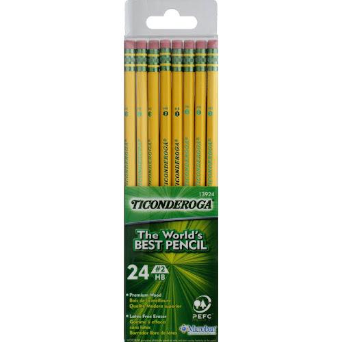 Ticonderoga HB No. 2 Pencils, Yellow - 24 pack