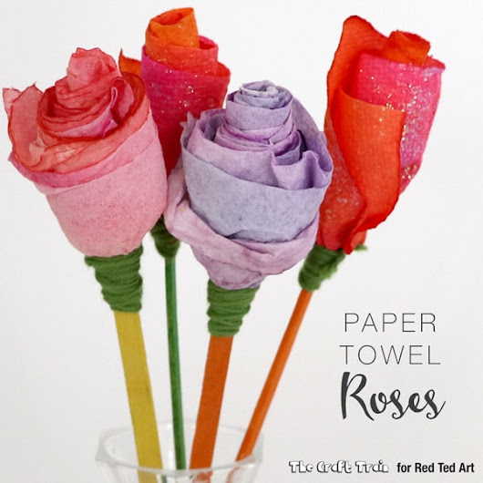 Paper Towel Roses - Red Ted Art's Blog