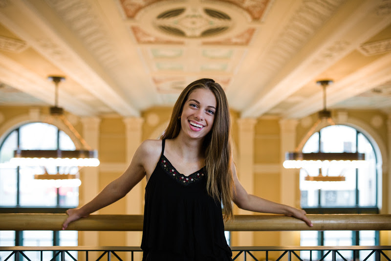 Indoor Senior Photos in Downtown Rockford Illinois at City Hall.