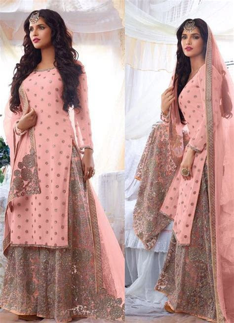 punjabi suits online DESIGNER PINK PAKISTANI EMBROIDERED