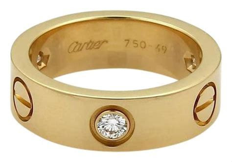 Cartier Yellow Gold Love 3 Diamond 18k 5.5mm Band Size Eu