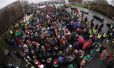 COP15 Protestors march towards Bella Center in Copenhagen