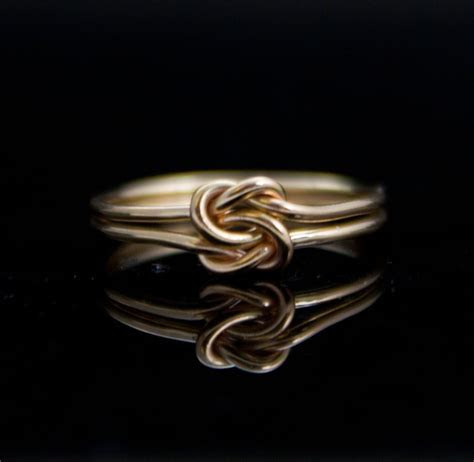 Solid 14K Gold Double knot ring. Infinity knot ring in 14