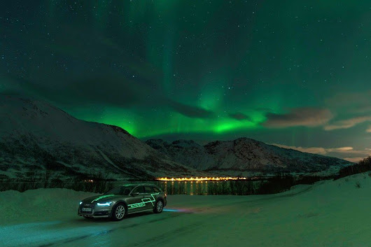 hunting for the northern lights with AUDI matrix LED technology