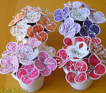 vasinhos flores tecido Lembrancinha de rosa de papel para dia das mães