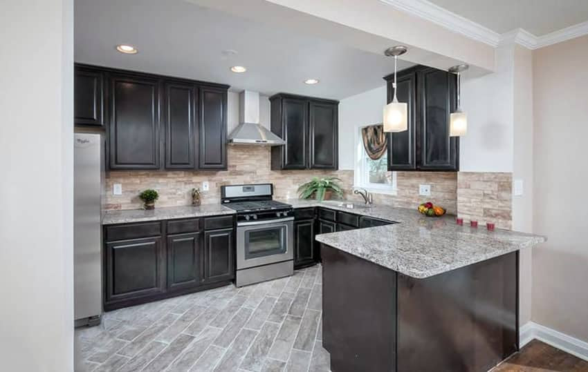 Grey Granite With Dark Cabinets