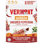 Vermont Smoke & Cure Minis Sticks, Uncured Pepperoni Turkey - 6 count, 3 oz bag