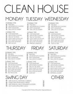 Weekly Cleaning Checklist printable... I do love a list and ...