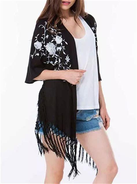 womens kimono duster black  white trim long fringe