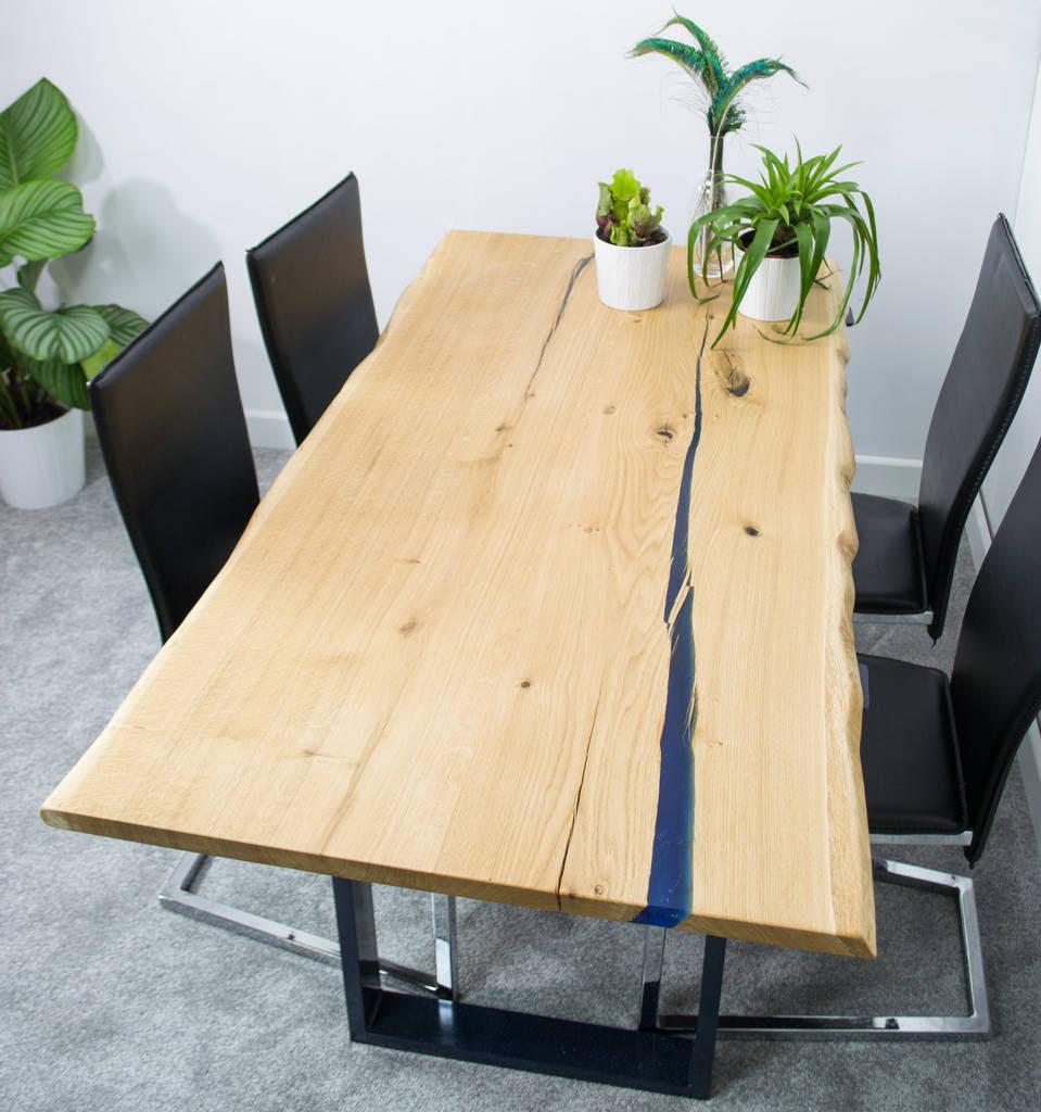 resin void fill oak slab dining table by frances bradley ...