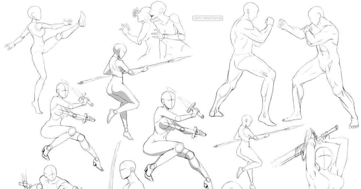 Anime Girl Fighting Stance Base - Gambarku