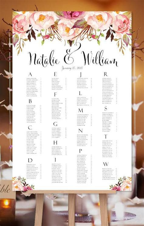 Wedding Seating Chart Poster Romantic Blossoms Watercolor