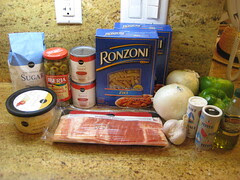 ingredients for spaguettis a la brasilera