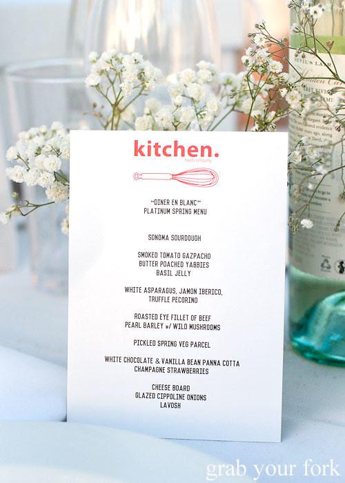 Platinum spring menu by Kitchen Food Company at Diner en Blanc Sydney 2013 Bondi Beach