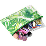 "Zodaca Fashion Pencil Case Cosmetic Makeup Pouch Bag for Camping Hiking Backpacking Travel (Size: 10 W x 5.5""H) - Palm Tree Leaves"
