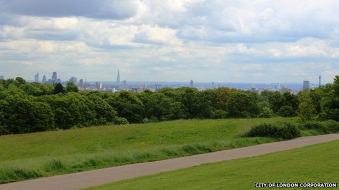 View of London's skyline from Hampstead Heath which is just four miles from Trafalgar Square