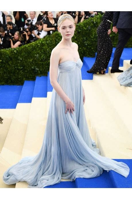 Elle Fanning 2017 Met Gala Blue Strapless Chiffon Gown For