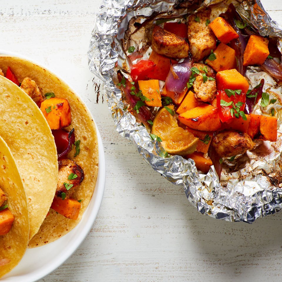 Chicken & Sweet Potato Grill Packets with Peppers & Onions