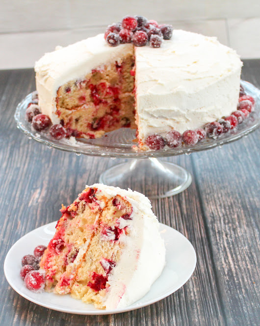 Sparkling Wine, Cranberry Cake, and White Chocolate Cake