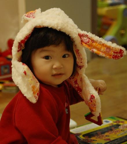 Miyu with her new cap