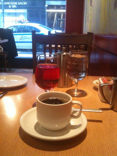 Coffee, Juice and Water with a Street View at Lily's