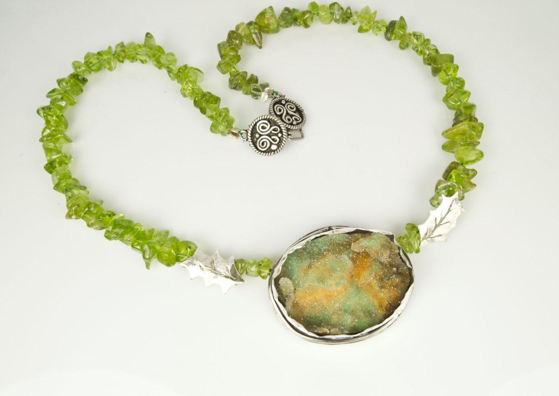 Gemstone Necklace - Druzy Chrysoprase and Peridot - Green Meadows - Sterling Silver - serpilguneysu