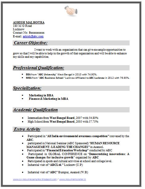 resume career objective samples for freshers  best resume