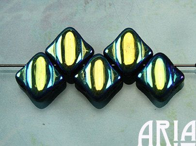 JET AB 6x6mm TwoHole Diamond Czech Glass Silky by AriaDesignStudio, $4.20