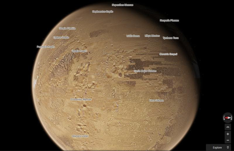 Exploring The Moon And Mars With Google Maps Wordlesstech