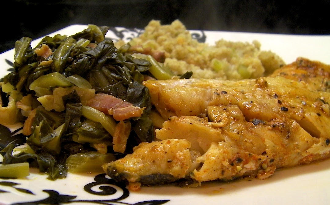 Pan Fried Whiting with Greens
