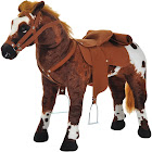 Qaba Plush Standing Horse Toy with Sound, Brown