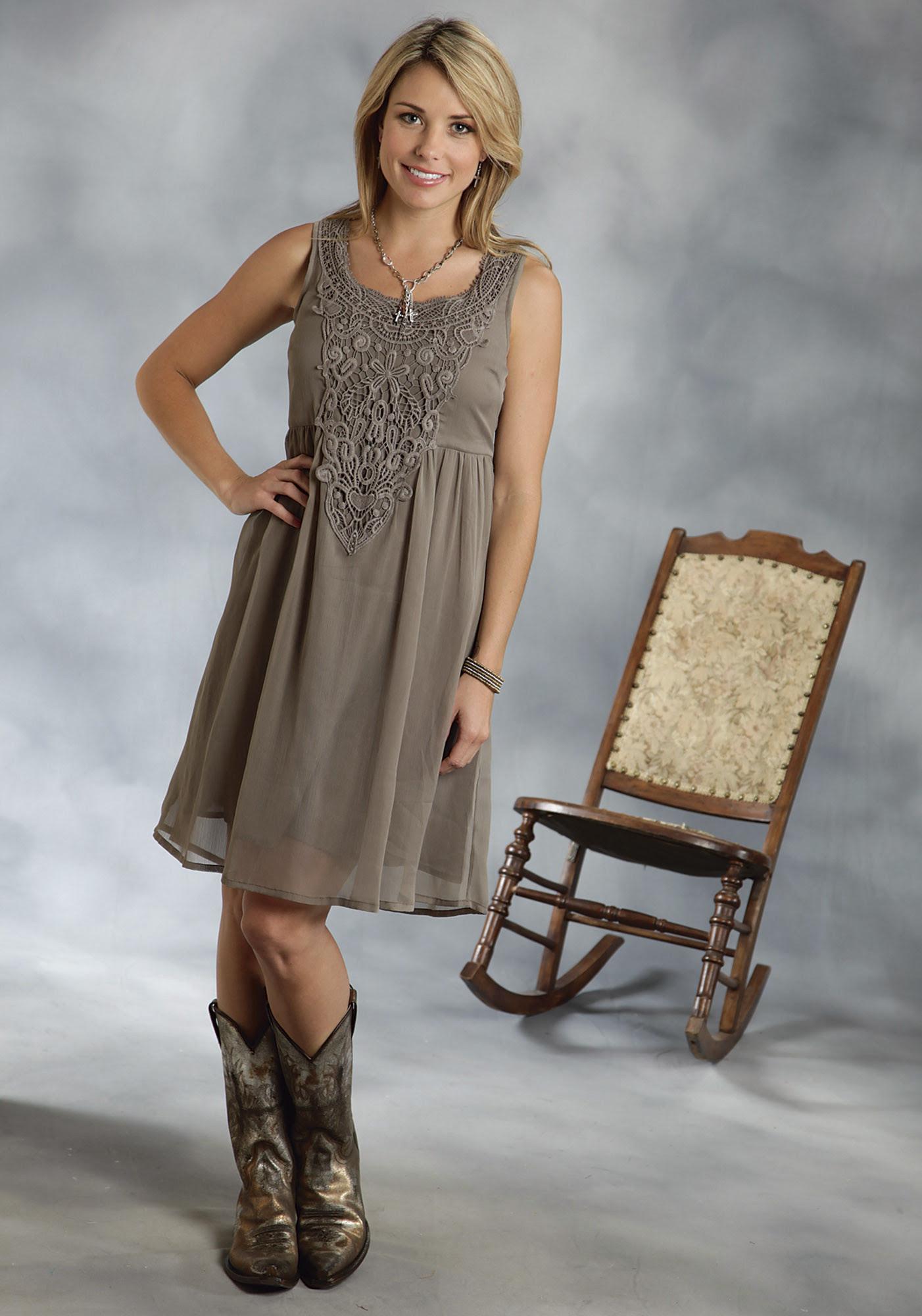 roper® olive chiffon lace empire waist sleeveless western